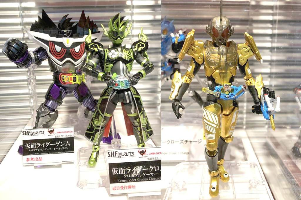 Kamen Rider Genm God Maximum Gamer Level Billion, Kamen Rider Cronus Chronicle Gamer, and Kamen Rider Grease