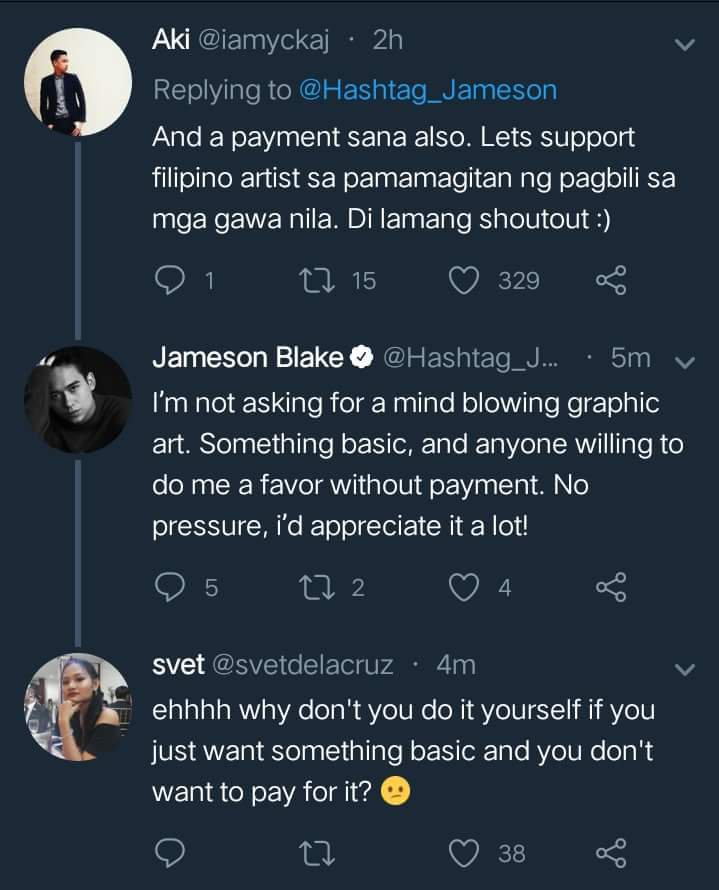 Jameson blake gets flak on twitter over free graphic design the after posting the call on his twitter account people started replying about how the only payment received would be a shout out somewhere at some point in solutioingenieria Choice Image