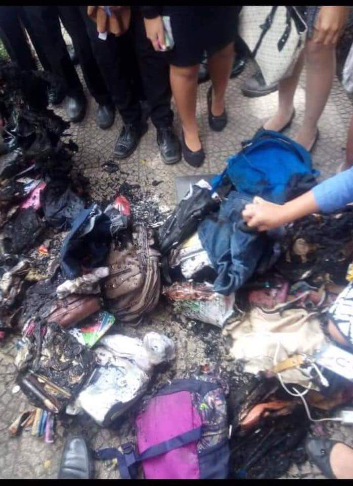 This School in Bicol Just Burned its Students' Bags for Non-Compliance