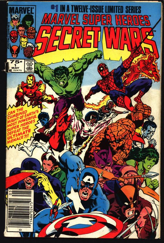 Secret Wars # 1 cover by Mike Zeck and John Beatty