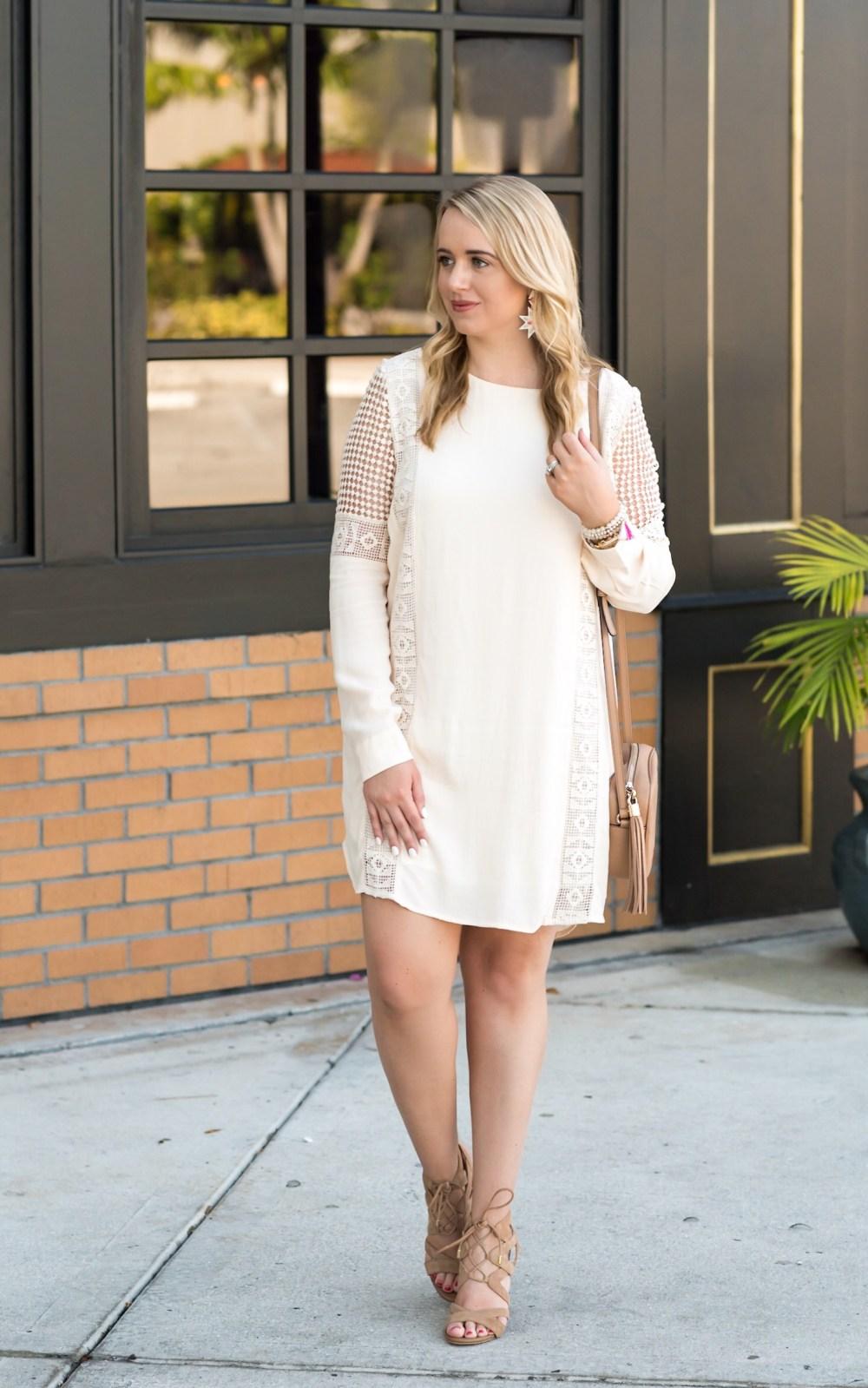 ASTR Crochet Inset Cotton Shift Dress Fancy Things