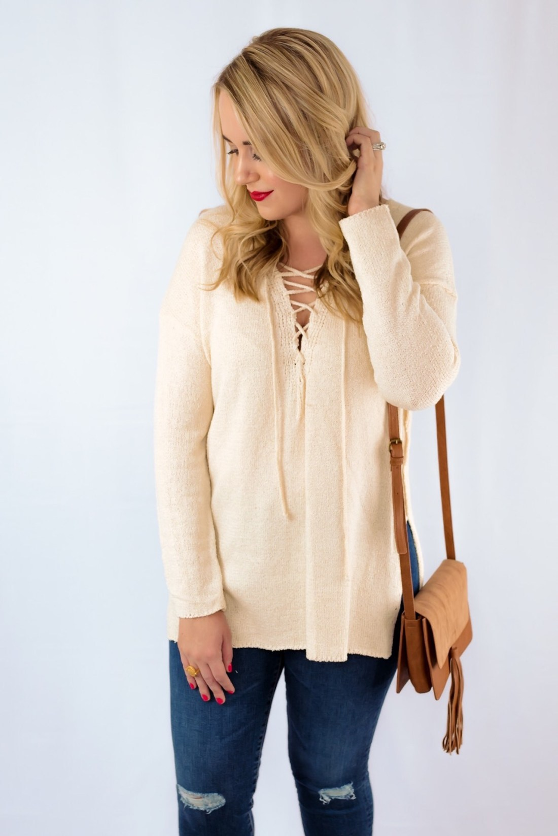 ASTR Lace Up Sweater Fancy Things Red Lip