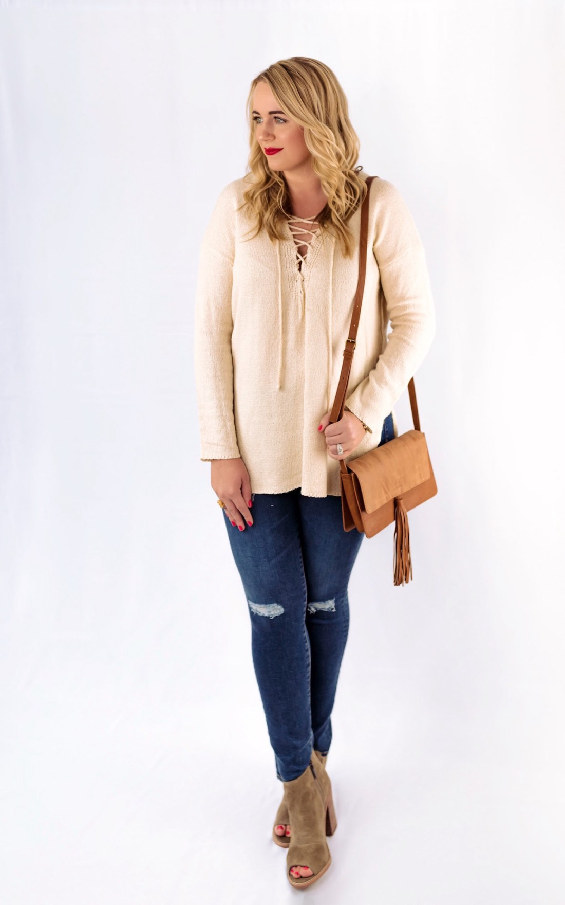 ASTR Lace Up Sweater Nordstrom Sale Fancy Things