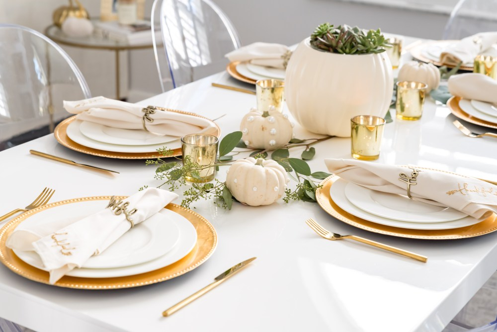 Pearl Embellished Pumpkins Fall Tablescape Fancy Things