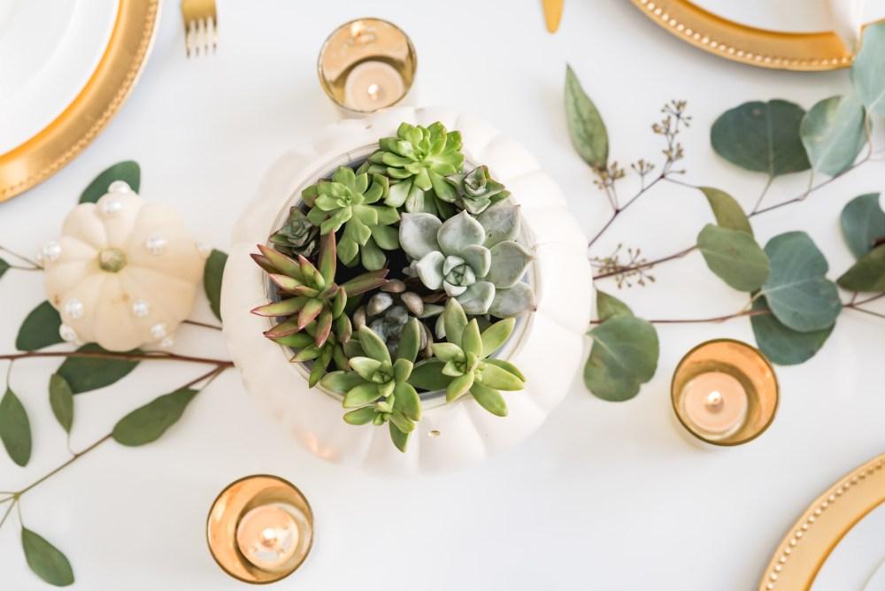 Pumpkin Succulent Centerpiece Thanksgiving Tablescape Fancy Things