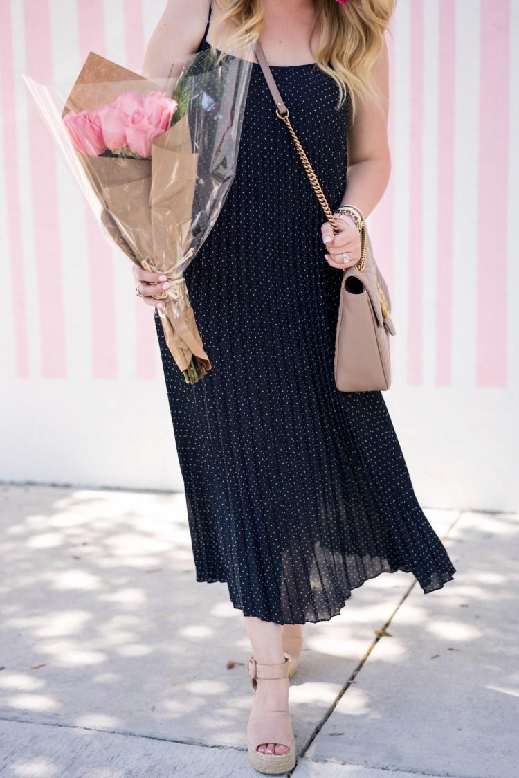Polka Dot Dress + Pop Of Color