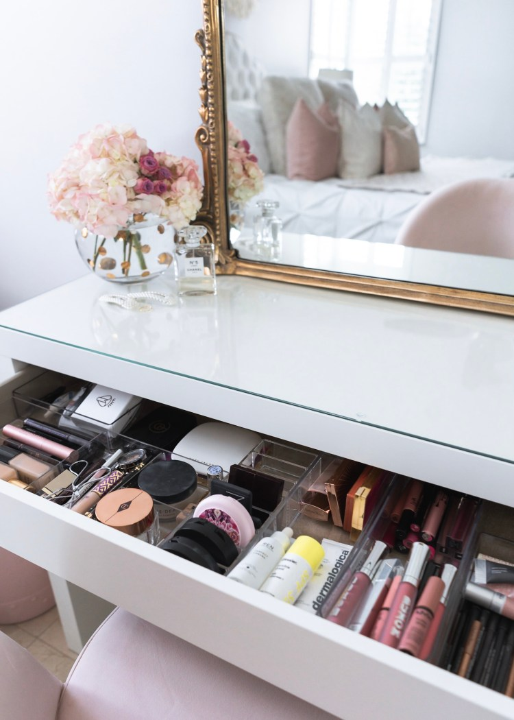 How I Organize My Makeup + Vanity Review