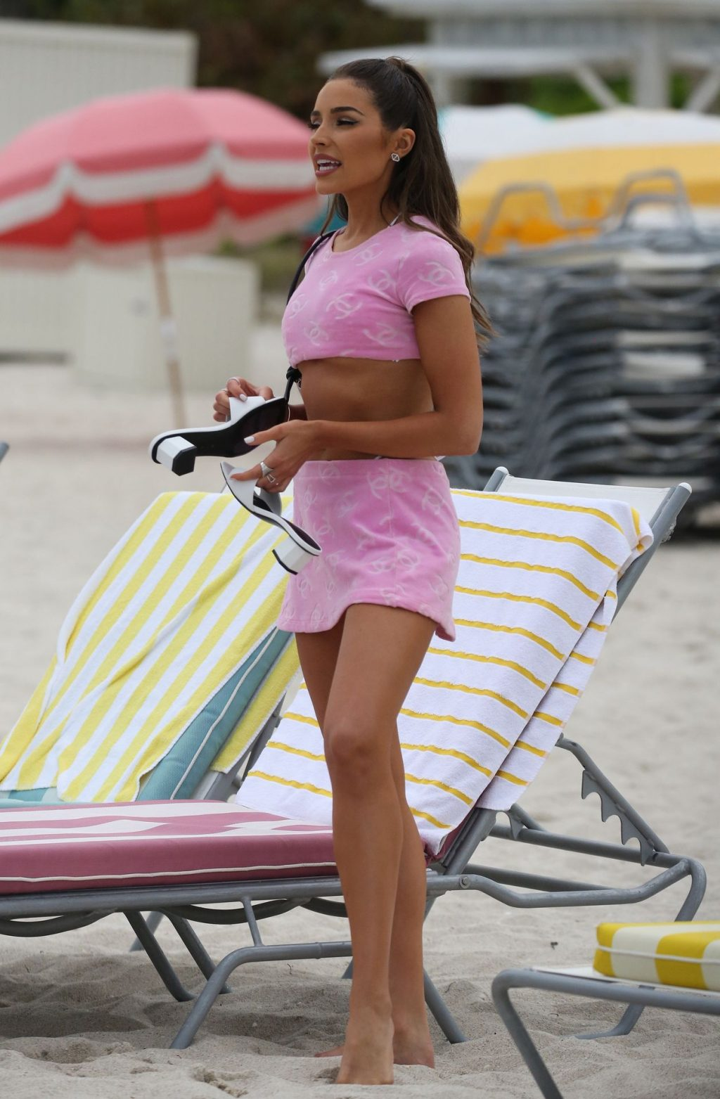 Olivia Culpo Wears a Revealing Chanel Crop Top and mini Skirt in Miami (50 Photos)