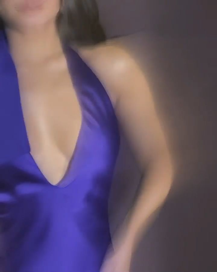 Vanessa Hudgens Looks Hot in a Plunging Purple Dress (8 Pics + GIF & Video)