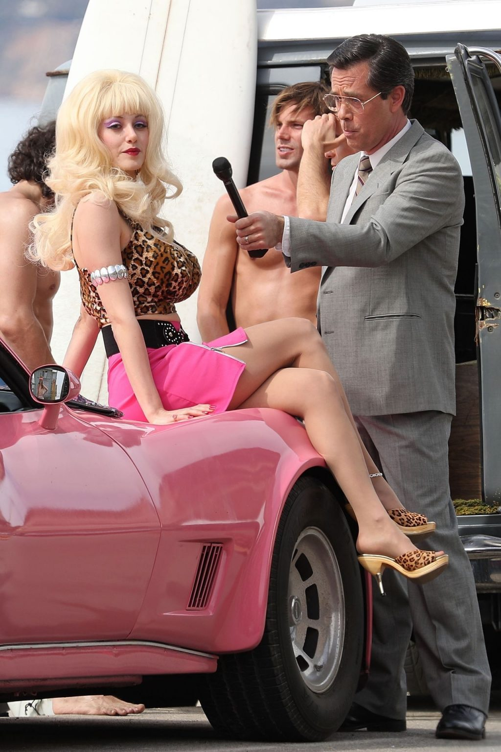 Emmy Rossum Flaunts her Cleavage as She Films Angelyne in Malibu (21 Photos)