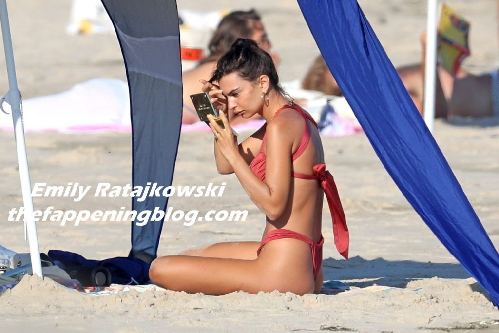 Emily Ratajkowski Hits The Beach in a Red Bikini in The Hamptons (50 Photos)