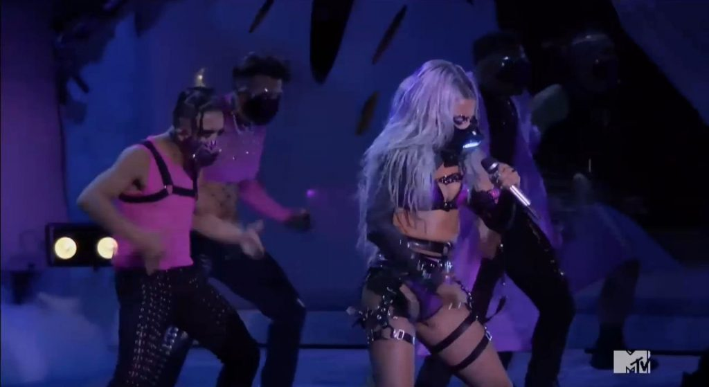 Lady Gaga Avoids a Wardrobe Malfunction on Stage with Ariana Grande at the MTV VMAs (86 Pics + Video)