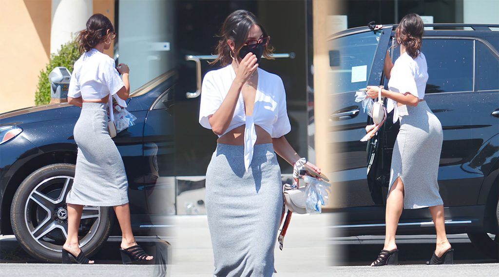 Sexy Eiza Gonzalez Steps Out in a Grey Skirt and White Top in Studio City (16 Photos)