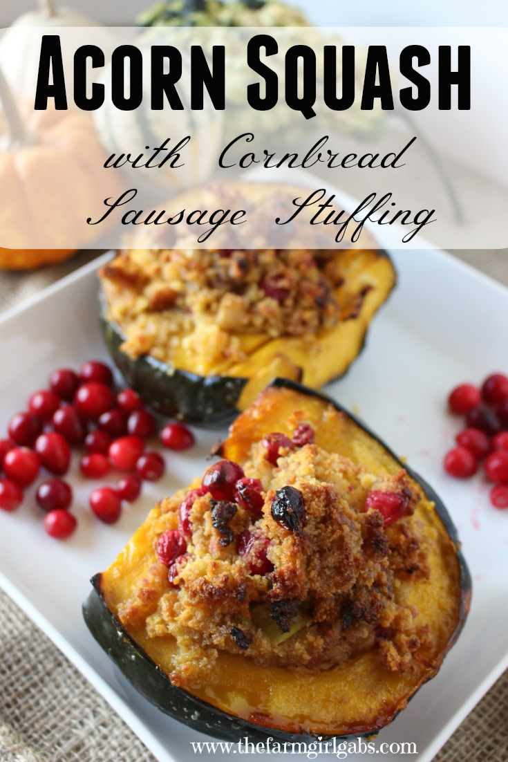 Acorn Squash with Cornbread Sausage Stuffing is a perfect recipe for Thanksgiving and fall. Fresh cranberries, cornbread and sausage round out this delicious stuffing. ~ www.thefarmgirlgabs.com
