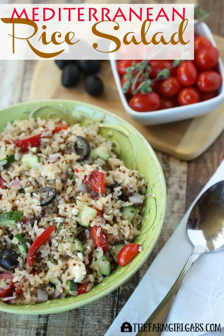 This Mediterranean Rice Salad, made with Veetee Dine In Rice is a quick and delicious lunch or dinner option with delicious Greek flavors. #VeeteeDineIn