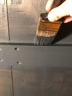 Painting the inside of the closet.