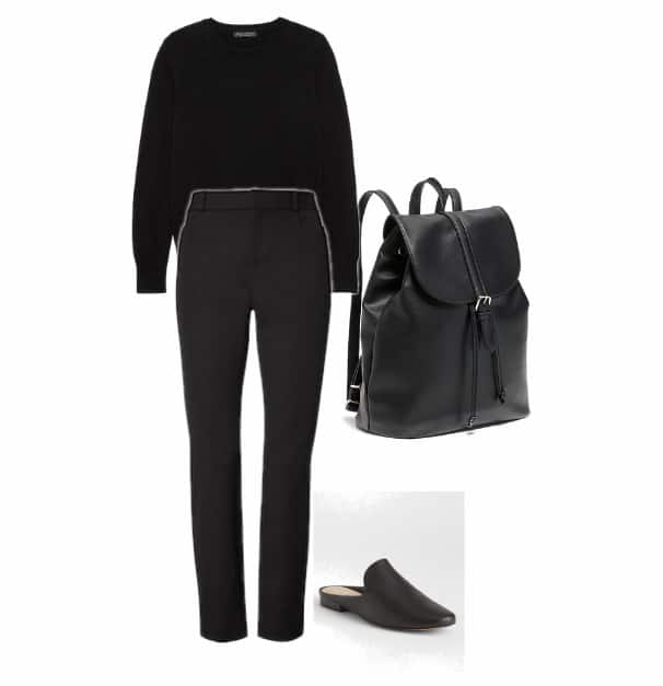 Black pants, sweater, and backpack with a pair of black shoes.