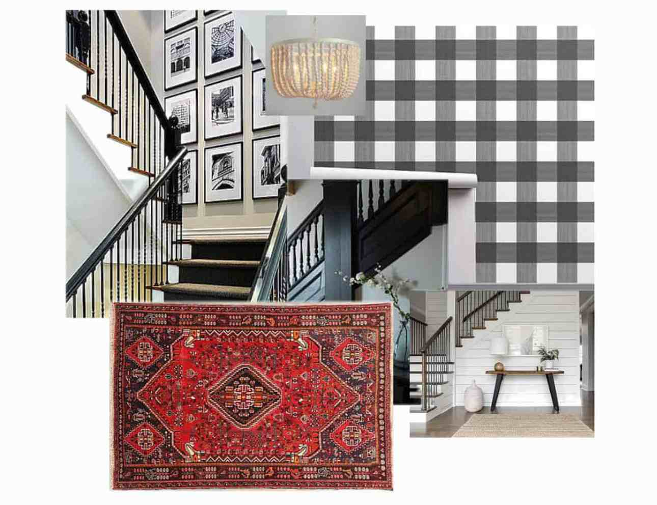 A mood board with a Persian rug, buffalo check wallpaper and a chandelier.