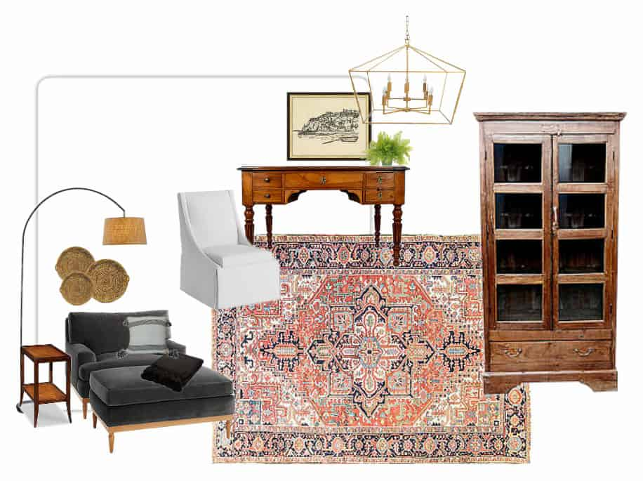 A dark wood, antique rug, and basket wall in the office mood board.