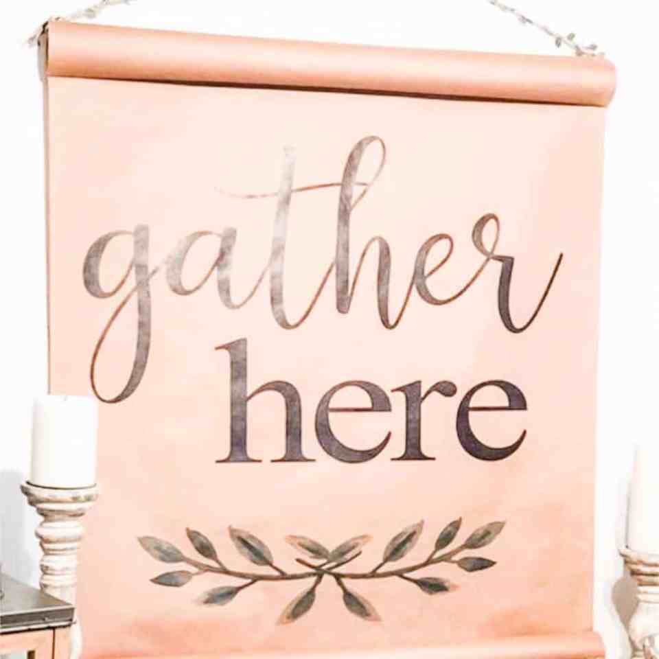 Gather here scroll decor.