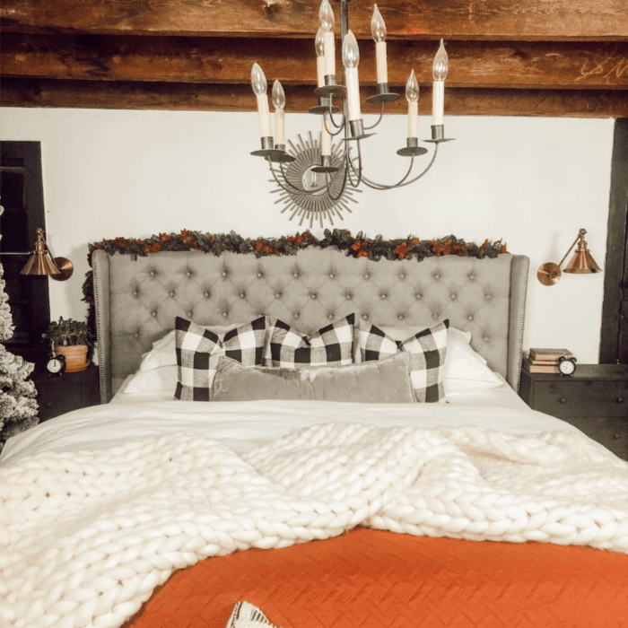 white and red bedding