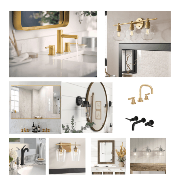 Gold faucets, black mirrors, and silver light fixtures in a compilation.