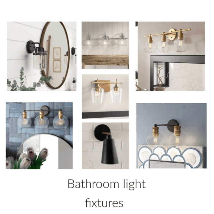 Bathroom light fixtures in many finishes such as bronze and brushed nickel.