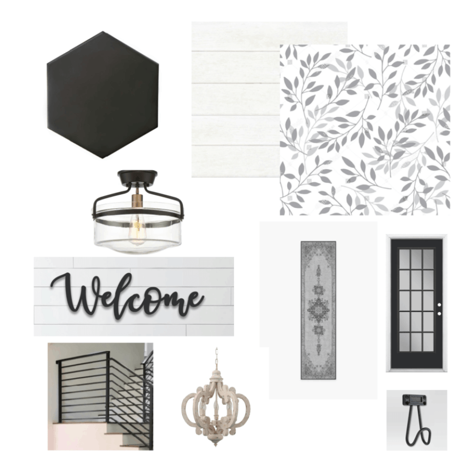 design board with leaf wallpaper to black hexagon tile and shiplap walls
