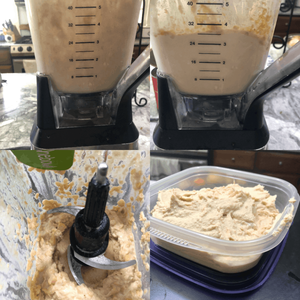 Four pictures of a blender in the process of making hummus.