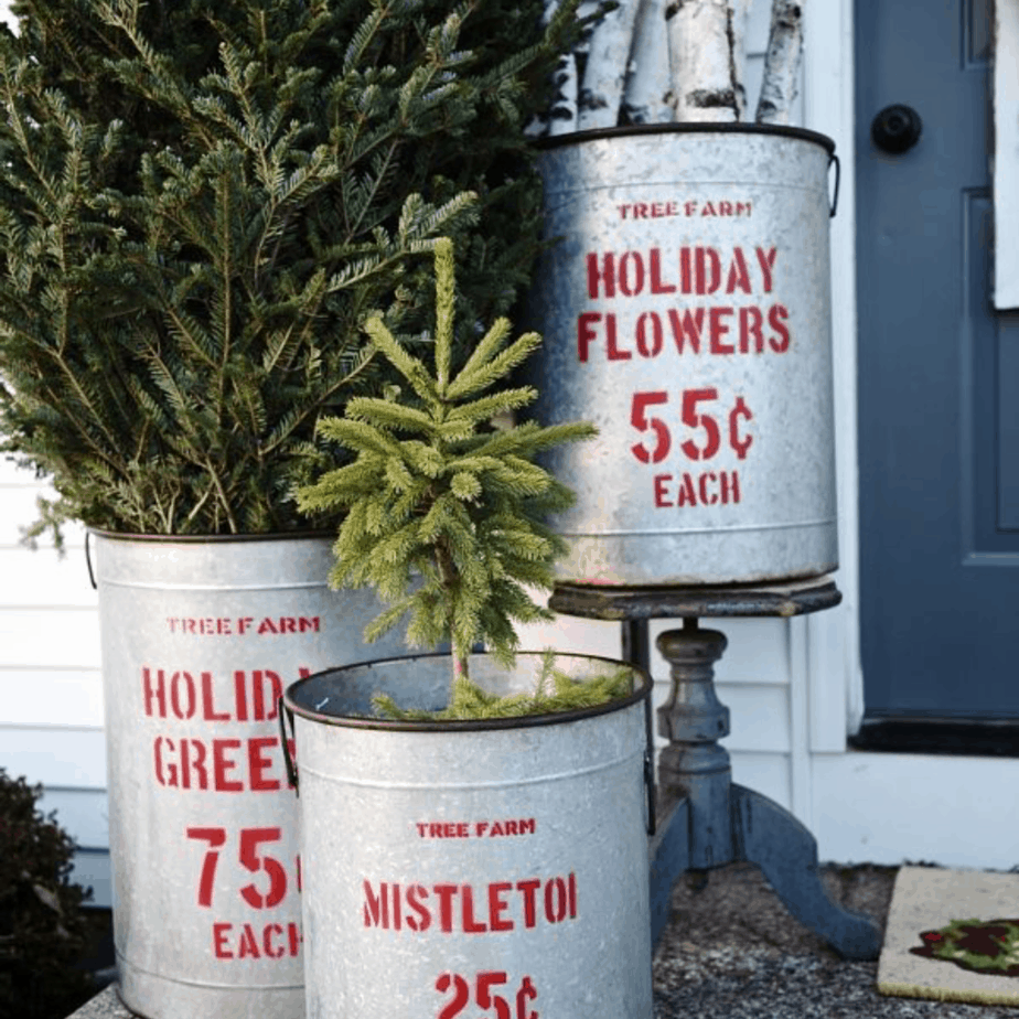galvanized buckets for greenery