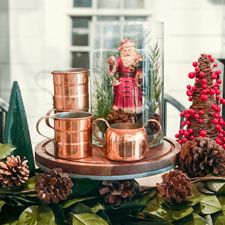How to make a DIY Christmas jar with an antique Santa figure