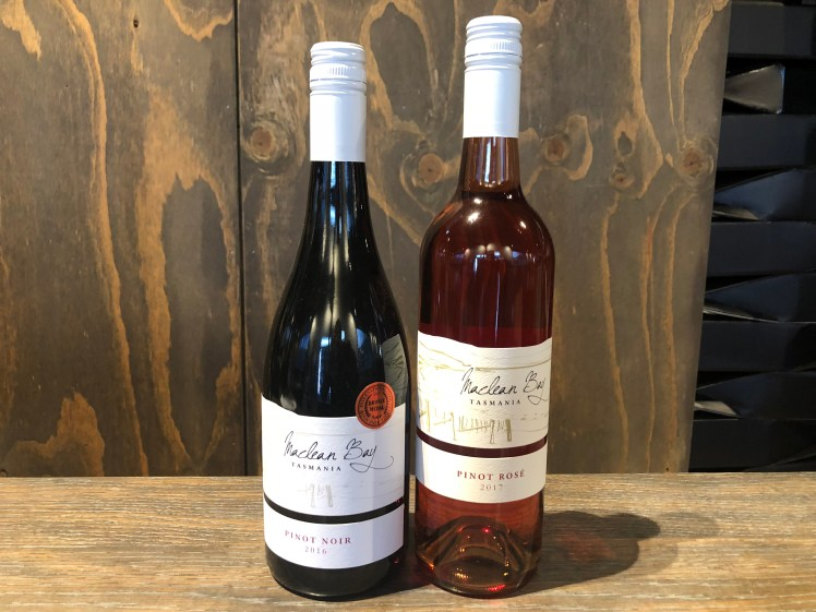 Wines from Bicheno's MacLean Bay vineyard, available at The Farm Shed East Coast Wine Centre