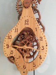 Wooden clock handcrafted by Guy Henderson