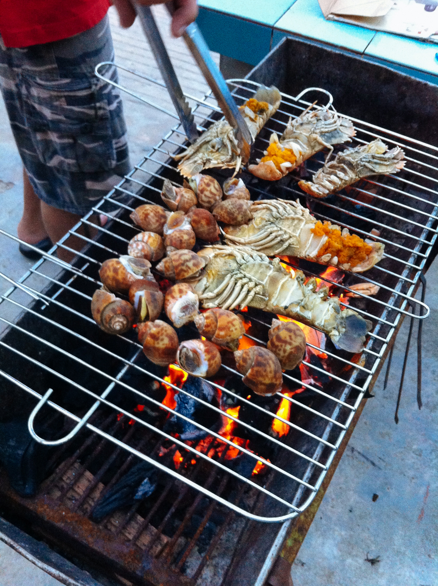 Barbecue seafood on the beach in Thailand.