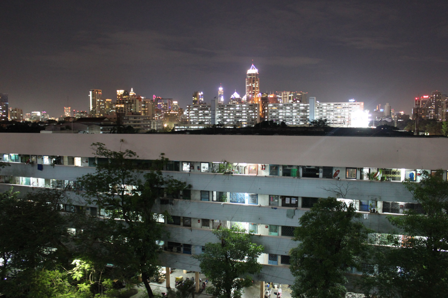 Bangkok skyline at night from Bon Kai.