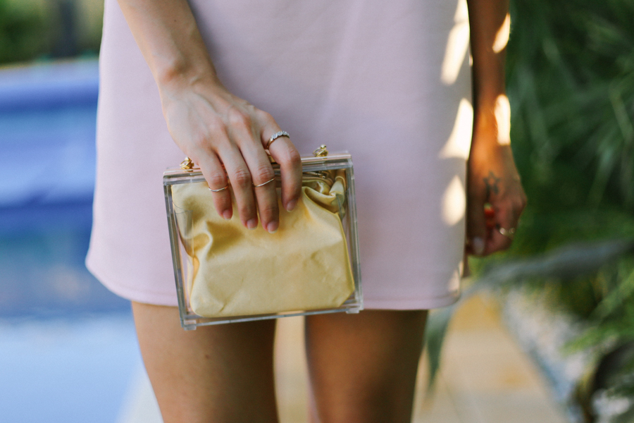 Niclaire transparent clear perspex clutch.