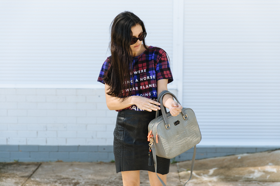 Ksubi plaid flannel channel tee. Nicholas leather skirt. Paul's Boutique Hayley mock croc bag.