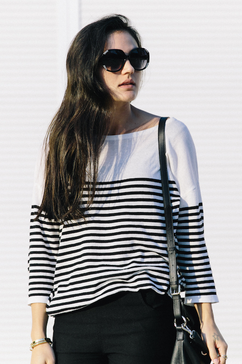 Oversized sunglasses & striped sweater outfit.