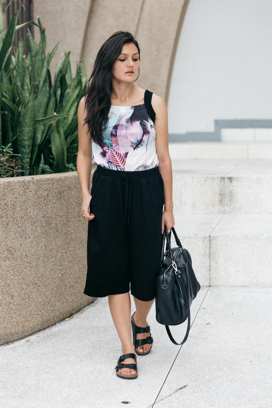 POL Clothing Mirage tank top with palm print. Black culottes from Forever 21 in Bangkok.