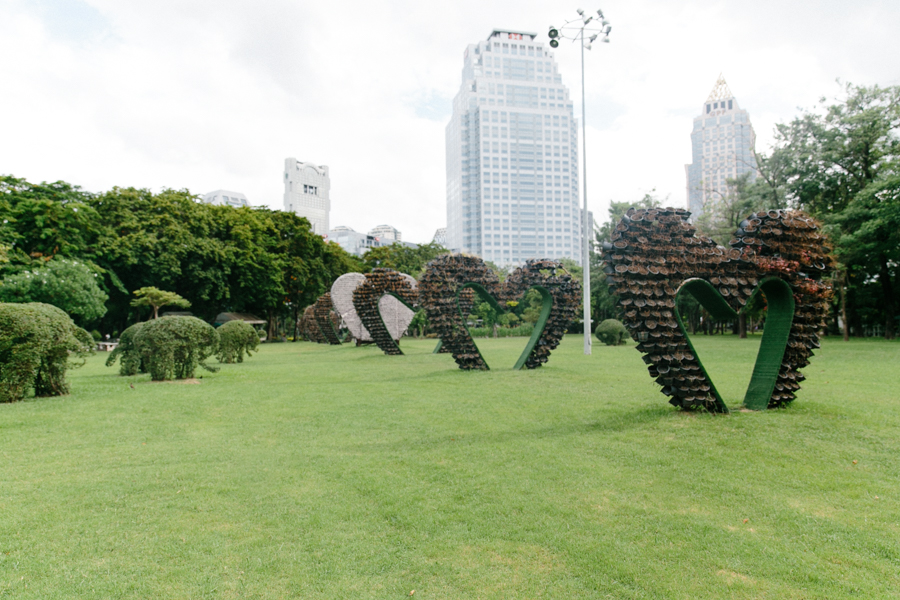 Love heart shapes made from potted plants in Lumphini Park.