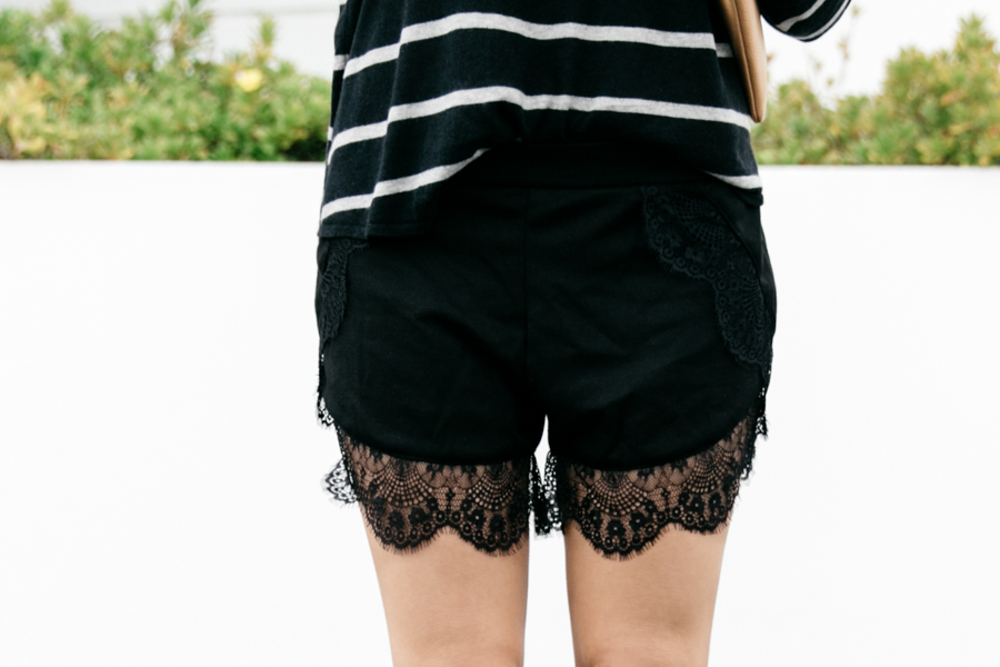 Black lace trim shorts from Stylemoi.