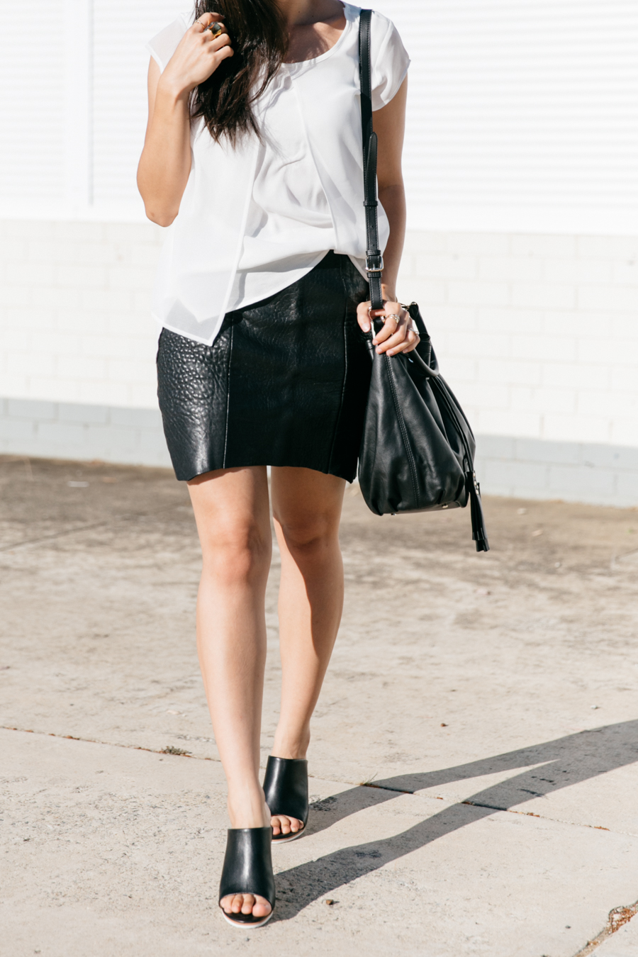 Jeanswest top outfit with black leather skirt.