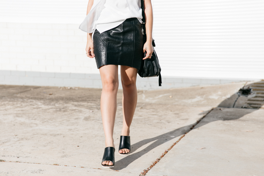 Black leather outfit. Nicholas skirt & Seed Heritage mules.