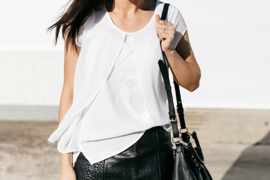 White layered blouse with split layer front. Jeanswest outfit by fashion blogger The Fashann Monster.