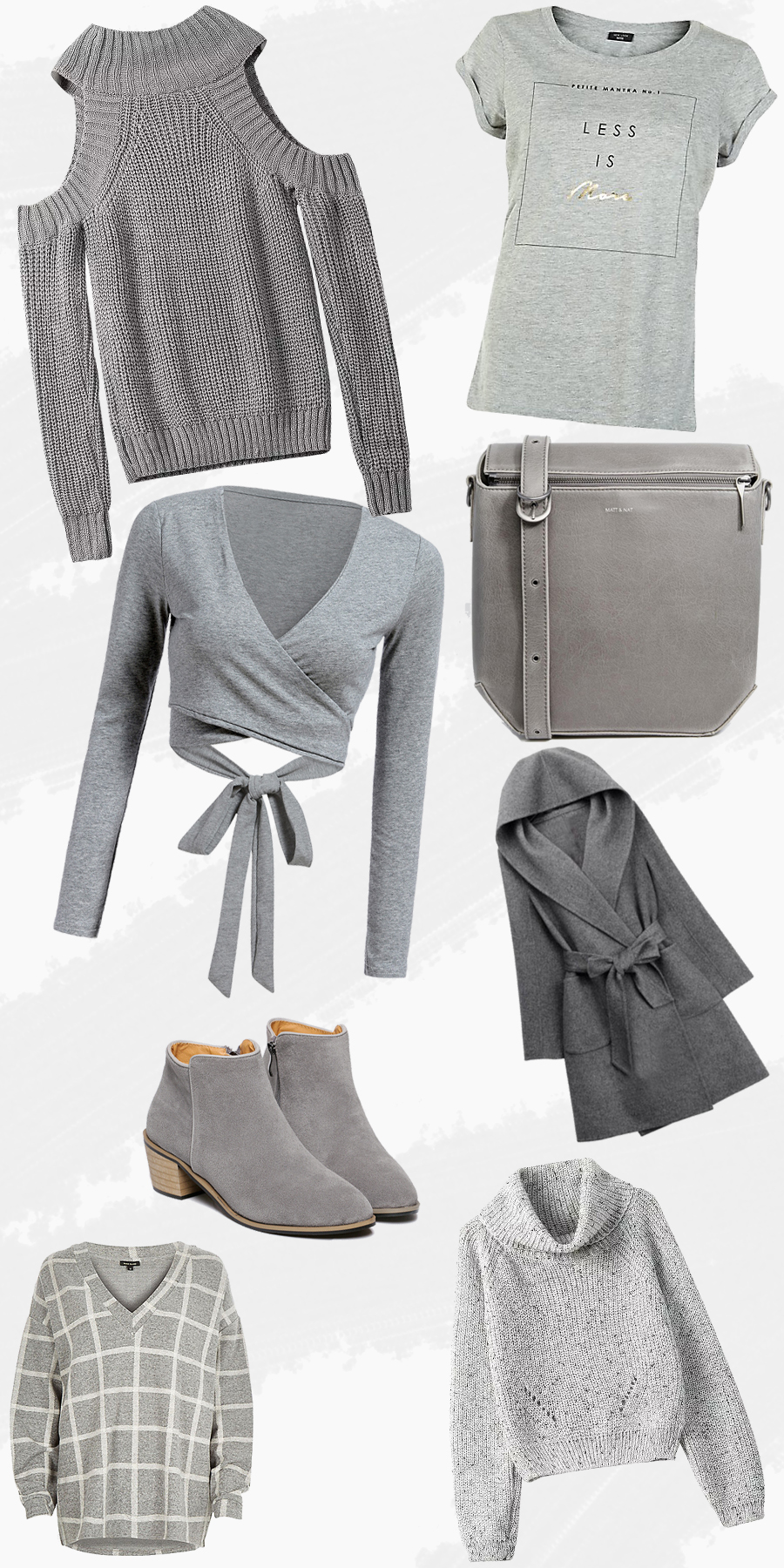 Grey autumn clothing picks.