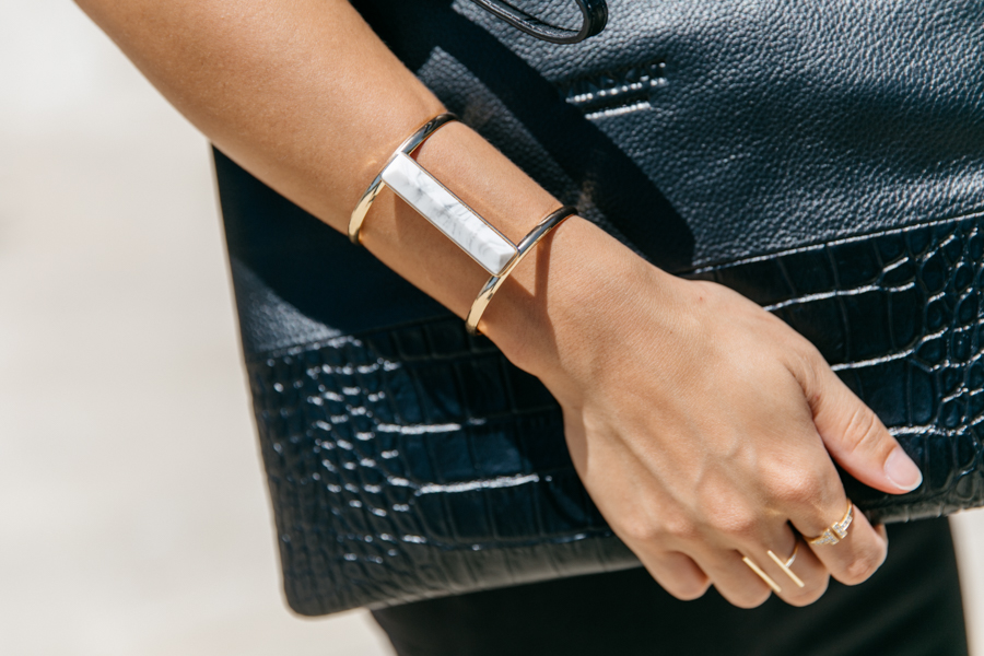 Gold & marble stone cuff from Boohoo.com online.
