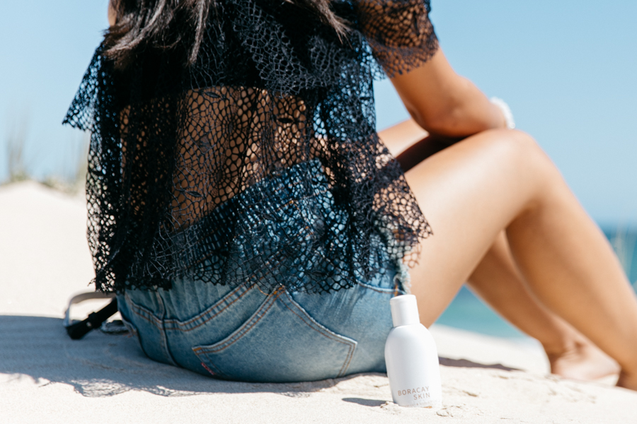 Lace off the shoulder top outfit.