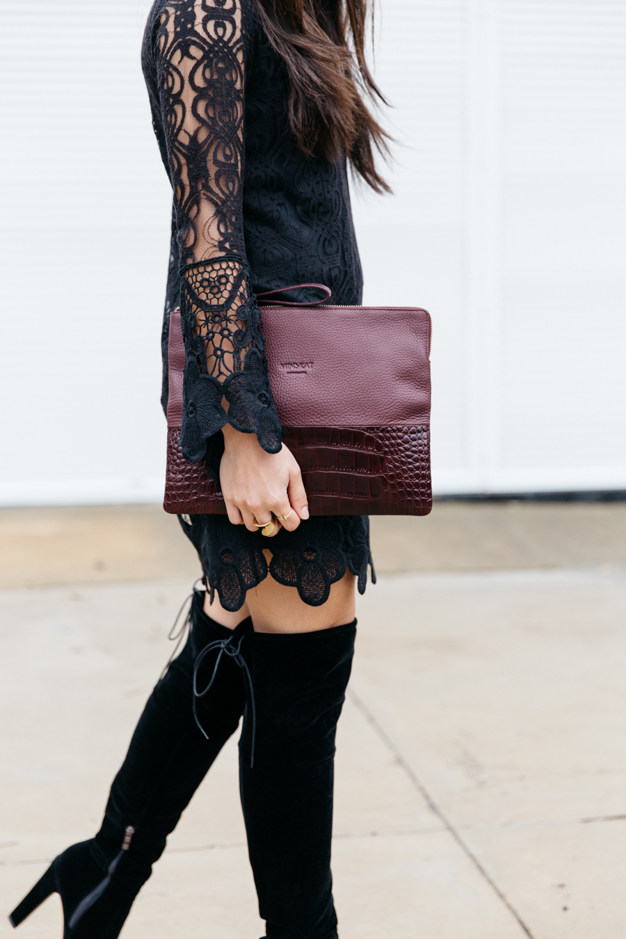 Vamp look - black lace & maroon accents.