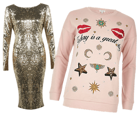 Bling Christmas outfits.