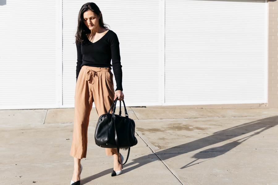 Tan culottes. Brown culottes.